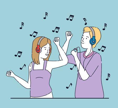 girl and boy dancing with headphones and mp4 over blue background, vector illustration Ilustração