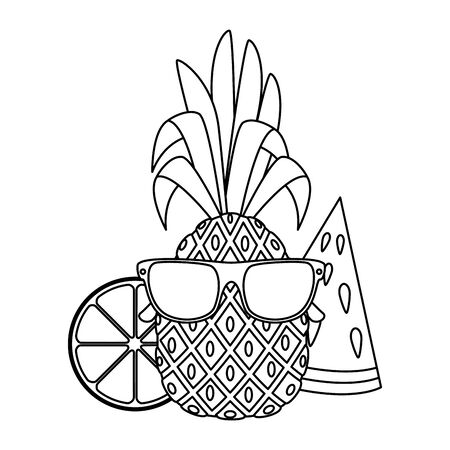 summer pineapple with sunglasses character and fruits vector illustration design