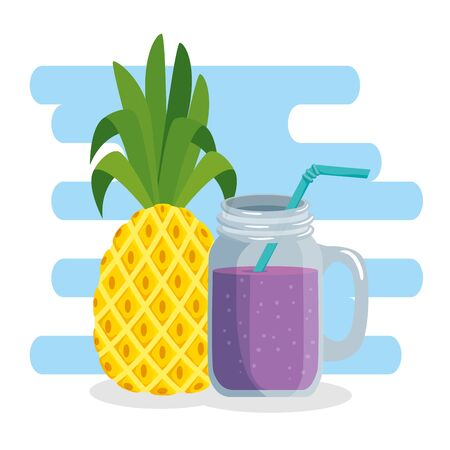 tropical pineapple fruit with smoothie beverage to summer time vector illustration Illusztráció