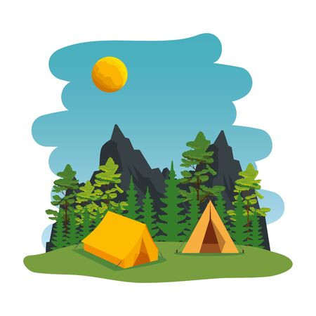 camping zone with camping tent scene vector illustration design