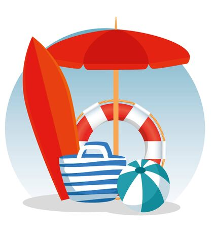 umbrella with float and ball with purse and surfboard to summer time vector illustration