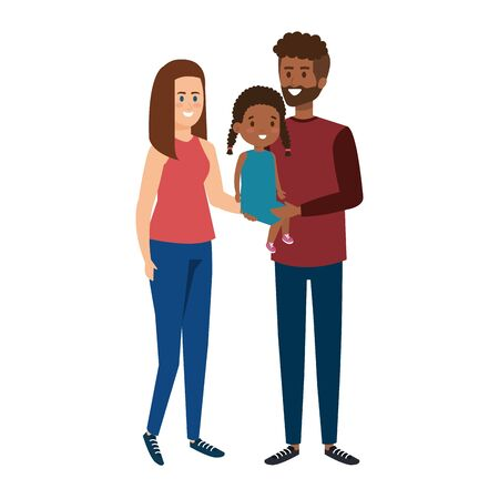 interracial parents couple with daughter characters vector illustration Illustration