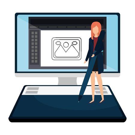 elegant businesswoman with pen in desktop vector illustration design Illustration