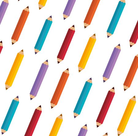 colors pencils education pattern background vector illustration design