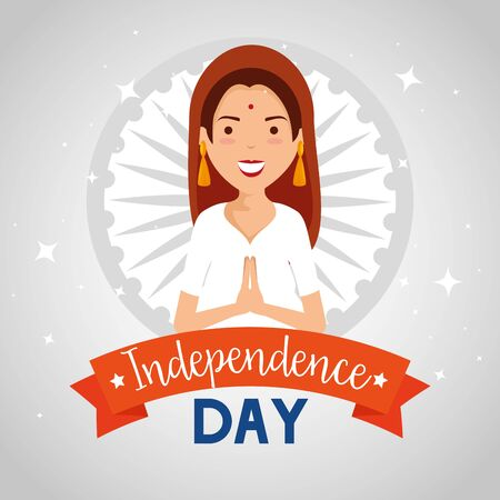 india woman with ribbon decoration holiday to independence day vector illustration
