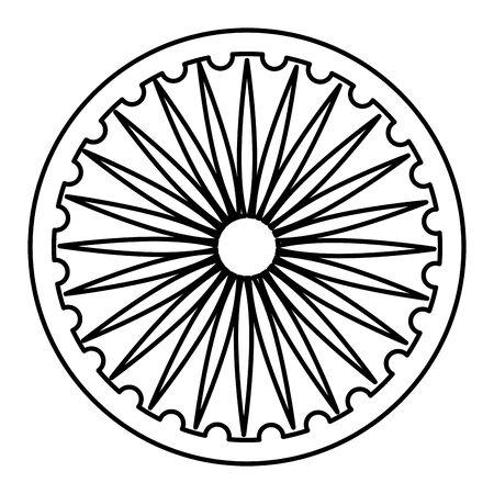 ashoka chakra indian emblem icon vector illustration design 向量圖像