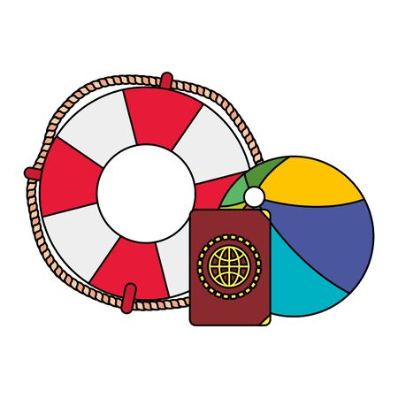 beach balloon with float and passport vector illustration design