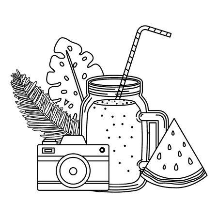 juice watermelon fruit jar with camera vector illustration design Archivio Fotografico - 129824283
