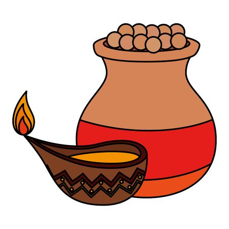 indian ceramic jar with food and candle vector illustration design Illustration