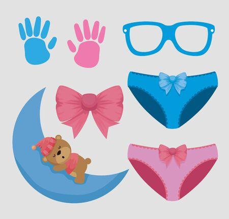 ensemble de hanprint avec lunettes et culottes avec ours dans la lune sur fond bleu illustration vectorielle Vecteurs