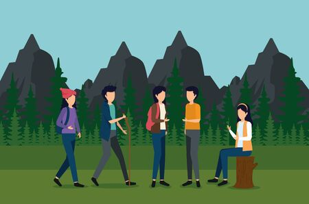 women and man waliking with backpack and stick in the landscape to tourism adventure vector illustration Stock Illustratie