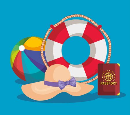 beach ball with float and passport with hat to summer time vector illustration Illusztráció