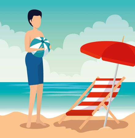 man wearing swimsuit with ball and umbrella with tanning chair to summer time vector illustration