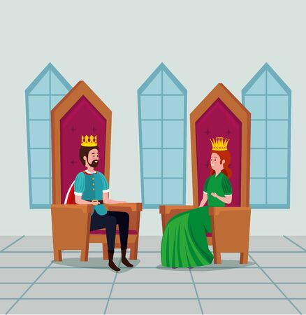 queen and king with crown sitting in the chairs to tale character, vector illustration
