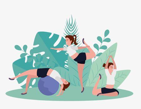 women training yoga meditation relaxation with leaves plants, vector illustration Illustration