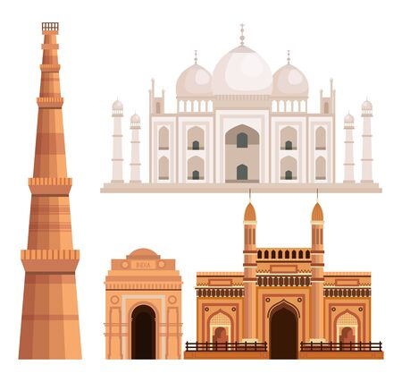 set of taj mahal and india architecture over white background vector illustration