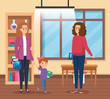 mother with girl and woman teacher with book in the classroom vector illustration