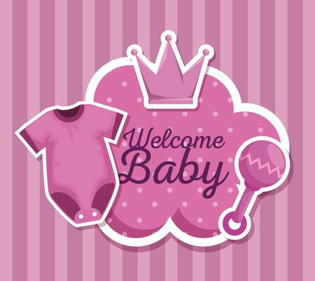 cloud label message with pijama and rattle decoration to baby shower vector illustration