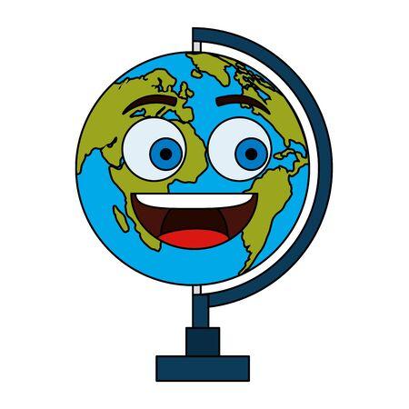 world map earth kawaii comic character vector illustration design Stock Illustratie