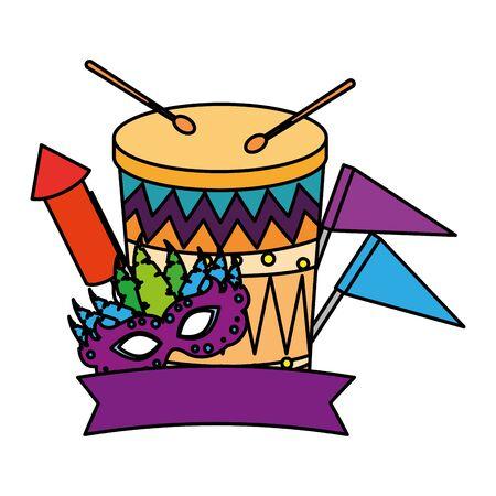 carnival mask with drum and rocket fireworks vector illustration design