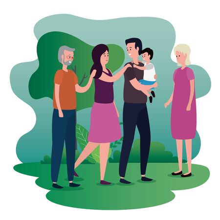 happy boy with his father and mother with grandparents to family together, vector illustration Ilustração