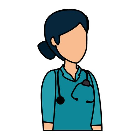 professional female doctor with stethoscope vector illustration design