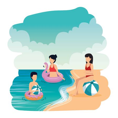 young people with balloon and float on the beach vector illustration design