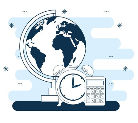 outline global map with clock alarm and calculator to back to school vector illustration Zdjęcie Seryjne - 129824327