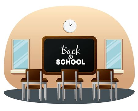 classroom with blackboard and desk with clock and window to back to school vector illustration