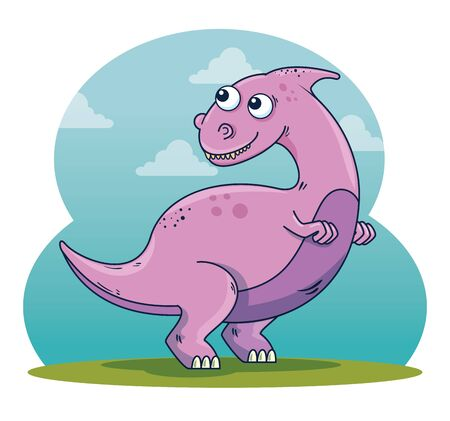 parasaurolophus wild dinosaur character with clouds to prehistoric animal vector illustration