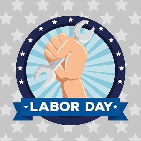 label of hand with wrench and ribbon with stars to labor day, vector illustration Foto de archivo - 129824345