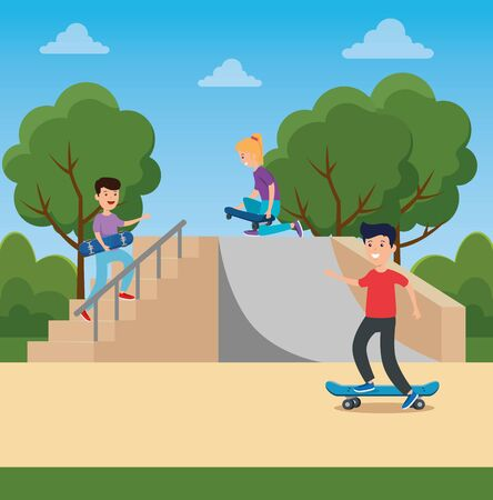 girl and boy playing skateboard in the ramps with trees and bushes vector illustration