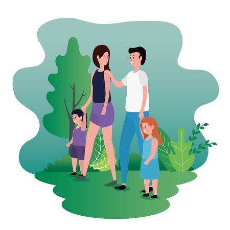 cute woman and man with their daughter and son to family together, vector illustration Standard-Bild - 129824361