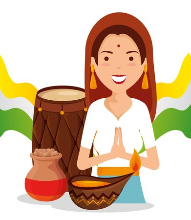 india woman with candle and barrel decoration to independence day vector illustration