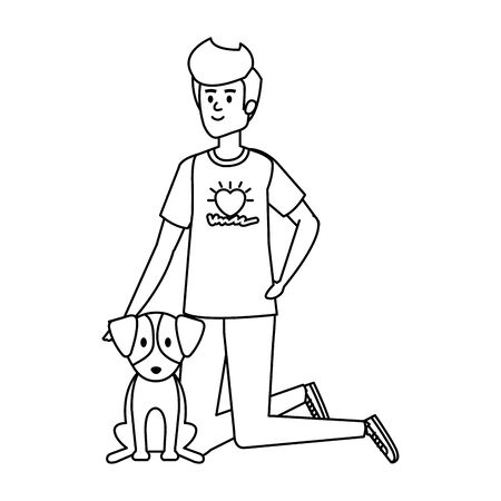 young man volunteer with cute dog vector illustration design Çizim