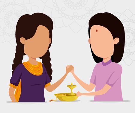 hindu girls sisters with candle and bracelet to raksha bandhan, vector illustration