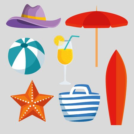 set of hat with umbrella and ball with starfish and beverage to summer time vector illustration