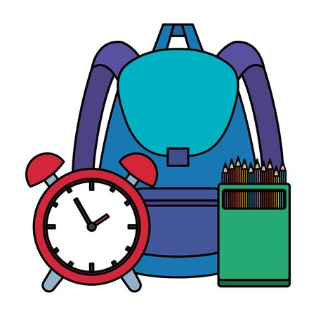 school bag with alarm clock and colors pencils vector illustration design Ilustracja