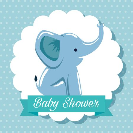 label of elepahant with ribbon message decoration to baby shower vector illustration