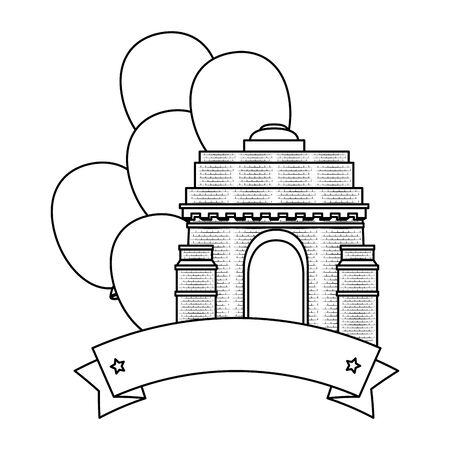 indian gate arch monument with balloons helium vector illustration design