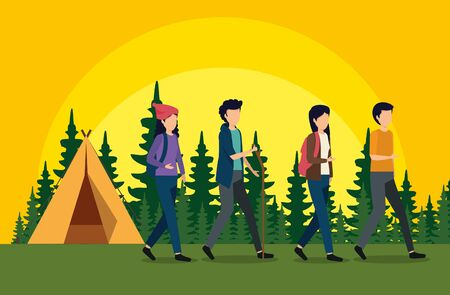 women and men walking with camp and pines trees to tourism adventure vector illustration