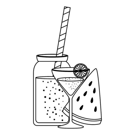 watermelon juice with pot and cocktail cup vector illustration design Archivio Fotografico - 129824386