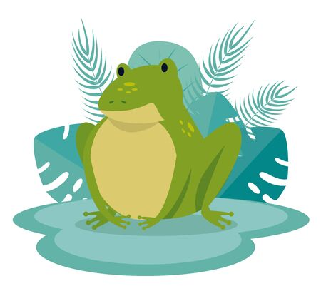 cute frog with leaves and branches plants to tale character, vector illustration Stock Illustratie