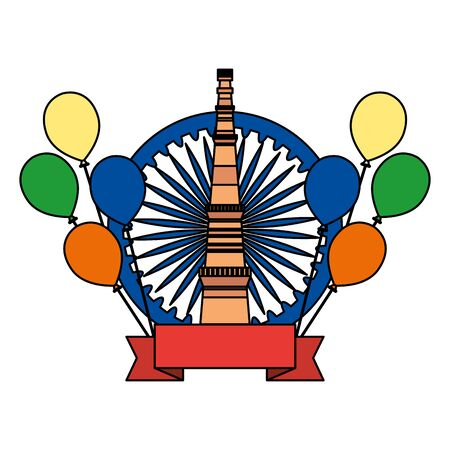 ashoka chakra with jama masjid indian building vector illustration design