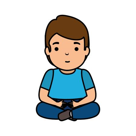 young man seated avatar character vector illustration design Иллюстрация