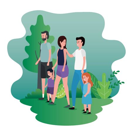 woman and man with their son and daughter with father to family together, vector illustration Иллюстрация