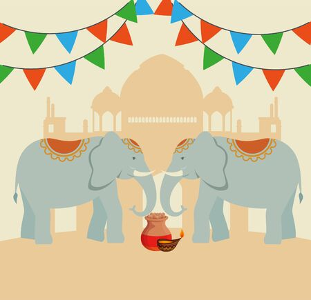 candle with elephants and party banner with taj mahal to independence day vector illustration Foto de archivo - 129824398