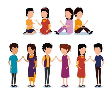 set of girls and boys sinblings celebration to raksha bandhan, vector illustration