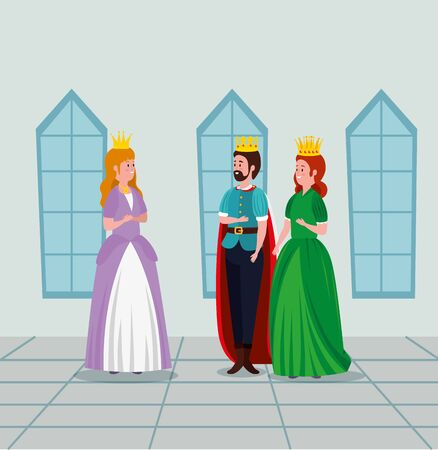 woman queen and man king with girl princess in the castle to tale character, vector illustration