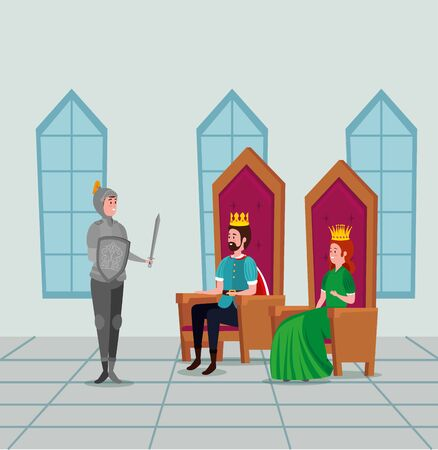 queen and king sitting in the chairs and sir with sword to tale character, vector illustration Illustration